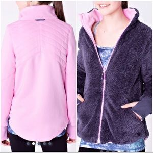 Ivivva reversible teddy sweater in pink and purple